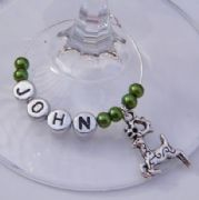 Reindeer Personalised Wine Glass Charm